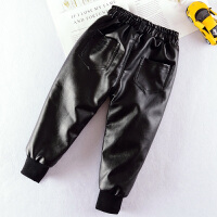 韩版宝宝2加绒3保暖pu皮弹力5小脚裤子7岁儿童装男童皮裤