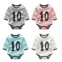婴儿连体衣服宝宝新生儿季0岁6个月三角长袖休闲哈衣春款