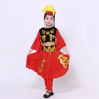新款女童新款儿童维族舞蹈服装少儿新疆表演服幼童演出服民族服装 红色