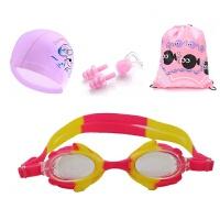 儿童泳镜女童男童防雾高清小孩宝宝可爱卡通游泳镜泳帽套装