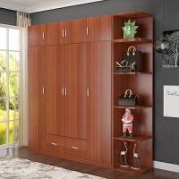 简易衣柜实木质柜子简约现代经济型组合整体大衣柜卧室柜衣橱 6门 组装