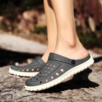 包头凉鞋男士洞洞鞋夏季游泳涉水防滑塑料沙滩鞋海边大头拖鞋塑胶