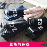 欧美大气 女童加绒加厚打底裤 儿童韩版字母收腿外穿修身运动长裤