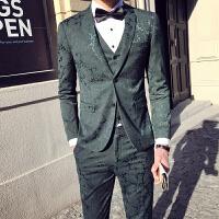 气质春秋男士西服套装男韩版修身发型师夜店西装三件套主持人外套