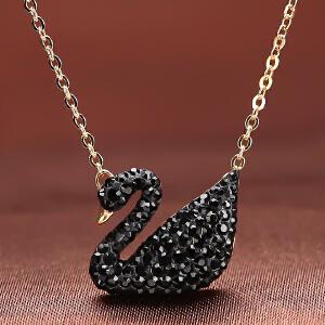 2016施华洛世奇水晶黑天鹅项链玫瑰金锁骨链5204134女士生日礼物黑色金链银链