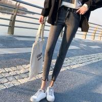 牛仔裤 女士紧身铅笔小脚裤2020春季新款不规则裤脚弹力修身女式学生韩版高腰显瘦九分裤