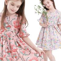 女童连衣裙夏装儿童裙子碎花棉绸短袖女孩薄款童装大童公主裙