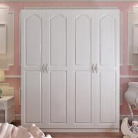 简易衣柜欧式整体卧室家具实木质简约现代经济型二三四门衣橱 四门 象牙白