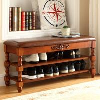 美式实木换鞋凳储物凳欧式沙发收纳凳多层鞋凳柜脚踏门厅鞋柜矮凳