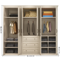 式实木衣柜现代简约平开门衣橱整体组装2门四门可定制白色6门 6门 组装