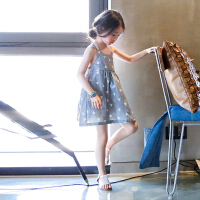 韩国童装女童无袖吊带裙儿童夏装连衣裙小女孩裙子女中大童沙滩裙