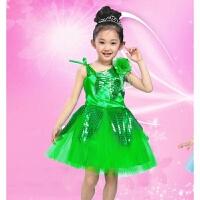 儿童演出服六一表演服女童舞台舞蹈服装环保秀树叶纱裙绿色小草02