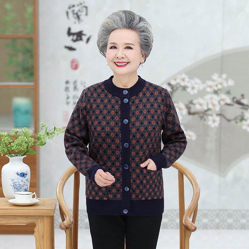 中老年针织开衫 中老年人女装2019冬装加厚毛衣开衫6070岁奶奶装针织衫老人外套 加厚毛衣开衫6070岁奶奶装针织衫老人外套