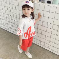 女童套装夏季新款短袖字母破洞连帽T恤 儿童短裤薄款运动两件套潮 红色 (针织字母套装)