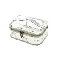 旅行化妆品包便携洗浴包女防水收纳袋韩版pvc透明收纳包洗漱包 仙人掌手提方形大号
