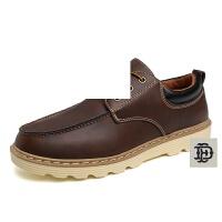 新款男鞋疯马皮工装鞋男士大头鞋英伦休闲鞋低帮厚底皮鞋