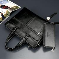 商务男包手提包横款男士包包单肩包斜挎包电脑包软包男公文包 商务黑 送手包钥匙包卡包