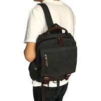 韩版小双肩包男多功能胸包小包帆布女包情侣单肩斜挎学生书包背包 黑色 黑