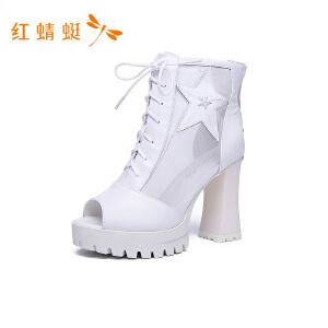 红蜻蜓鱼嘴透气拼接时尚粗高跟女凉鞋