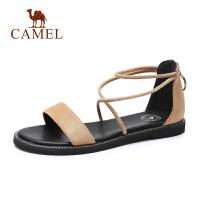 camel骆驼2019夏季新品一字带凉鞋平底绒面女鞋百搭露趾罗马鞋网红鞋
