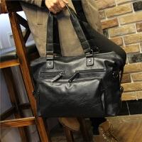 新款男士商务包手提包大容量旅游男包短途商务出差单肩行李包袋皮 黑色 全场满2件送手包