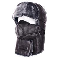 雷锋帽子男冬天加绒加厚保暖帽冬季户外骑车防风老人PU皮东北帽子