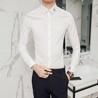 春夏新款男士长袖衬衫韩版修身纯色白衬衫青年时尚发型师潮流寸衫