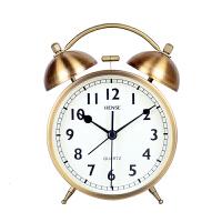 汉时(Hense)机械打铃闹钟学生床头钟卡通桌钟创意儿童小台钟静音夜光懒人闹表HA71 沙铜