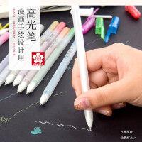 日本樱花高光笔银笔白色笔金色波晒笔手绘设计黑卡纸油漆笔白线笔