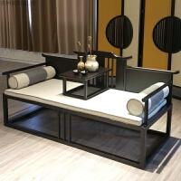 新中式罗汉床现代禅意休闲厅躺椅中式酒店会所样板房家具定制 胡桃色 1.8米