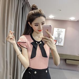【班图诗妮】2018新款短袖T恤女韩系薄针织上衣蝴蝶结打底衫