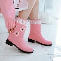 韩版女童单靴春秋公主短靴可爱花朵蕾丝马靴大童靴子童鞋