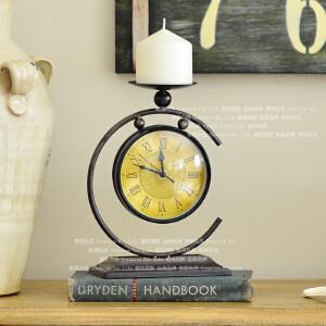 奇居良品 欧美式创意装饰钟表多功能双用摆件泰玛烛台座钟表