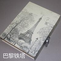 日记本带锁 复古风景记事本记录本盒装密码本
