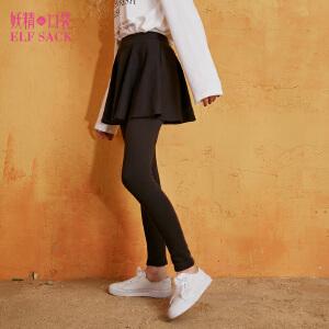 妖精的口袋黑天鹅秋装新款修身弹力加绒假两件裙裤打底裤女