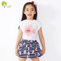【当当自营】贝康馨童装 女童T恤短裙套装 韩版纯棉花朵短袖t恤条纹半身裙儿童套装连衣裙