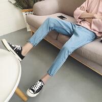 码牛仔九分裤男矮个子S码27号修身小脚裤学生160浅蓝裤子