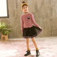 儿童韩版针织毛衣裙童装小女孩洋气公主裙女童秋冬连衣裙
