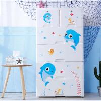 收纳柜 塑料抽屉式收纳柜儿童房玩具储物柜卡通婴儿衣柜衣服收纳箱