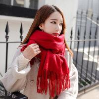 户外围巾女羊绒纯色羊毛保暖加厚披肩两用百搭长款韩版围脖