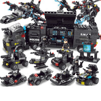 兼容乐高积木拼装玩具益智男孩子城市警察10岁智力拼图儿童消防车 8合3特警突击队 升级版