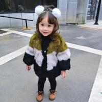 皮草獭兔毛宝宝加厚短款真毛皮草大衣韩版女童渐变3色外套
