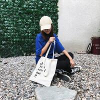 韩版ins女大学生帆布包包单肩文艺小清新手提袋日式森女系原宿风