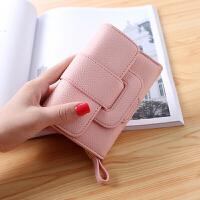 情侣钱包短款男女一对多功能 大容量 大气卡包一体包女line零钱包 粉红色 新店有优惠