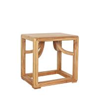 现代实木家具新中式方凳霸王称凳子老榆木板凳面漆茶凳 45X35X45(现货)