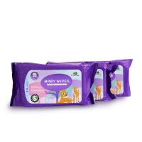 英国品牌小树苗 婴儿宝宝湿巾纸 柔润护肤婴儿柔湿巾80片*3