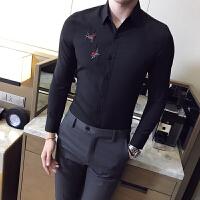 英伦青年刺绣衬衫修身免烫皱夜场发型师酒吧工作服男士长袖衬衣