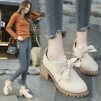 女春季粗跟高跟英伦学院风女鞋蝴蝶结单鞋