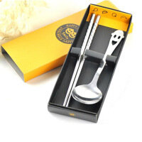 普润(PU RUN) 不锈钢笑脸勺筷子套装餐具