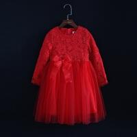 2018秋冬女童长袖连衣裙儿童加厚加绒蕾丝公主裙宝宝红色裙母女装